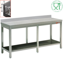 TL2461 - RVS Werktafel met ondertablet mm (BxDxH) : 2400x600xh880/900 DIAMOND