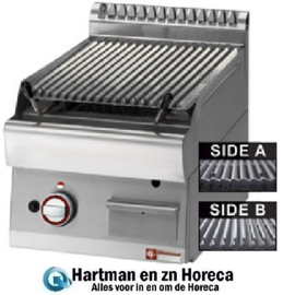 "PLX47-PB - Lavasteengrill - 1/2 module - bakrooster in gietijzer ""double face"" DIAMOND"