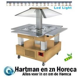 CSB/4D-D1-R2 - Eiland Buffet - Salade bar, gekoeld, 4x GN 1/1-150 (Licht eiken hout) DIAMOND