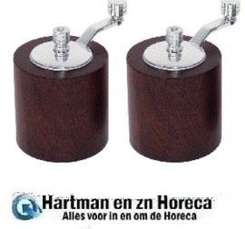 CE247 - Olympia peper- en zoutmolen set donker hout 8,5cm
