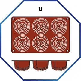 070075 - BAKMAT ROSE 1/3 GN in blister-verpakking  ROND 76 MM / HOOG 40 MM