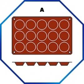 070050 - BAKMAT TARLETTA  1/3 GN in blister-verpakking - ROND 50 MM / HOOG 15 MM