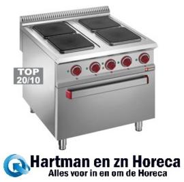 E9/4PQF8 - Elektrisch fornuis met 4 vierkante kookplaten op elektrische GN 2/1 oven DIAMOND
