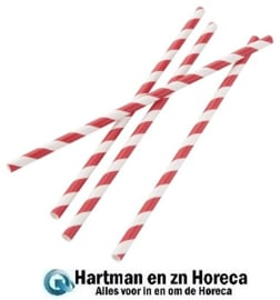DE927 - Fiesta Green composteerbare papieren rietjes rood-wit gestreept per 250 stuks