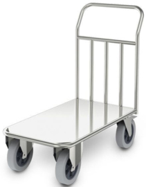 0114192 - Zwaarlast transportwagen STWP/9,8x5, roestvrijstaal, stapelwand met ronde buizen Ø 25 mm en opgelaste vlakke rvs plaat, afm. laadvlak 850x500 mm (bxd), draagvermogen 500 kg, gewicht 25 kg