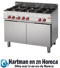 GN050 -Gastro M 650 gasfornuis met 6 branders en extra grote oven 65/110 CFGG