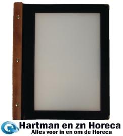 H759 - Menumappen set 20st. hout A4 zwart