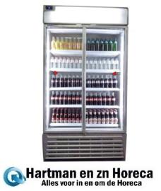 TOP900SL - Dubbele glazendeur koel vitrinekast - Afmetingen: (L) 1100 X (B) 695 X (H) 2010 TOPCOLD