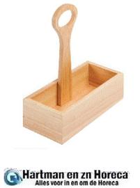 GH309 - Olympia houten condimenthouder met handvat 24(h) x 23(b) x 10(d)cm