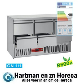 SA3/R6+2XGC1/2/R6 - Compacte koelwerkbank  2 x 2 lade en 1 deur GN 1/1, 380 Liter mm (BxDxH) : 1365x700xh857/890 DIAMOND