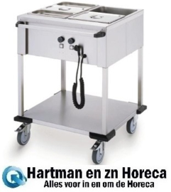 86.4702 - Bain-Marie wagen 2 x 1/1 Gn bediening lange zijde  MOBILE CONTAINING