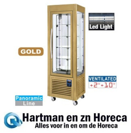 SNE/GN-C5 -  Panoramische vitrine, 5 roosters, 360 LT, Gold DIAMOND