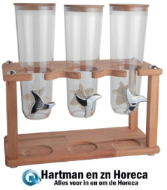 145168 - Muesli Dispenser  houten standaard 3x 1,5 Liter