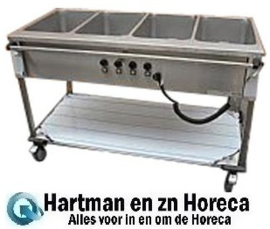 86.4712 - Bain-Marie wagen 4 x 1/1 Gn bediening lange zijde - MOBILE CONTAINING