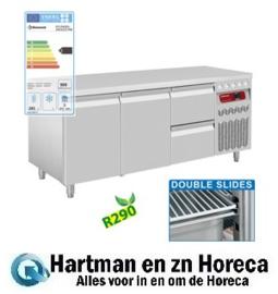 DT178/R2+1XCA1/2-PM - Geventileerde koelwerkbank met lade's en 2 deuren GN 1/1, 405 Lit. mm (BxDxH) : 1755x700xh850/900 DIAMOND