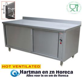 TE147A / B - Warmtekast met 2 schuifdeuren met opstaande rand mm (lxbxh) 1400 x 700 x H880 / 900 DIAMOND