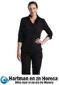 B314 - Uniform Works dames stretch shirt zwart