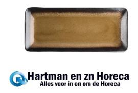 HC534 - Olympia Nomi rechthoekige tapasborden geel-zwart 24,5 x 11cm