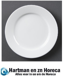 CB478 - Olympia Whiteware borden met brede rand 16,5cm. Prijs per 12 stuks.