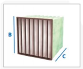 04012 - Meerlaags synthetisch zakkenfilter, klasse M6 - IFS65 SF - B592 X H592 X D600 - 8 ZAKKEN
