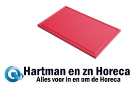 GN337 - Gastro M GN1/1 HDPE snijplank met sapgeul rood