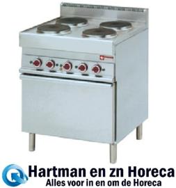 E65/4PFV7 - Elektrisch fornuis met 4 ronde kookplaten met convectie-oven GN 1/1 DIAMOND