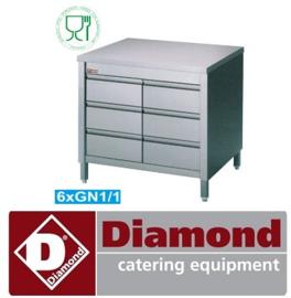 TACS107/B - Werktafelkast met 6 laden GN 1/1 DIAMOND