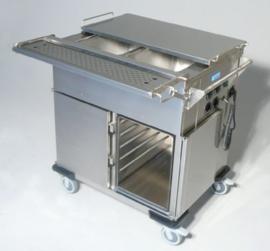 0162944 - Voedseltransportwagen SPTW-2/EBF voorzien van klapdeksels, bakken met folie-verwarming en kastruimte met 5 geleiders
