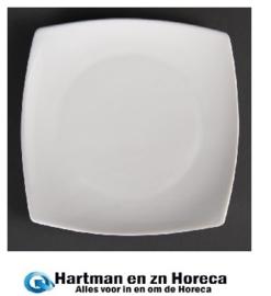 U169 - Olympia vierkant bord met afgeronde hoeken Wit 18,5cm. Prijs per 12 stuks.
