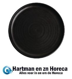 FA317 -Olympia Canvas ronde borden met smalle rand zwart 26,5cm -6stuks