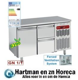 TG2N/H-R2+1XK1/2-H - Koelwerkbank geventileerd, 1 deur en 2 lade's GN 1/1 mm (BxDxH) : 1355x700xh880/900 DIAMOND
