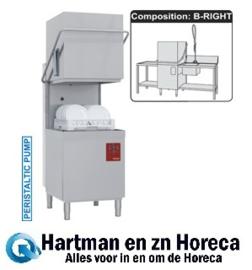 015-25D/6/B-D - Doorschuifvaatwasser mand 500 x 500 mm uitlooptafel - Voorwastafel - Sproeier met mengkraangroep zonder uitloop DIAMOND