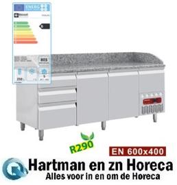 TP261/R2 - Pizzakoelwerkbank 2 deuren 600x400, 3 neutrale laden + gereedschapslade mm (BxDxH) : 1980x720(800)xh880/940(1090) DIAMOND