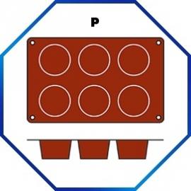 070065 - BAKMAT MUFFIN ROND1/3 GN in blister-verpakking  69 MM / HOOG 35 MM