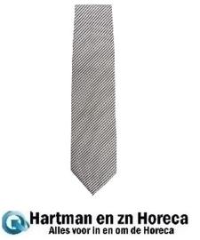 A886  -Uniform Works stropdas zilver en zwart gestreept