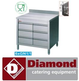 TACS107A/B - Werktafelkast met 6 laden GN1/1 opstaande boord achteraan  DIAMOND