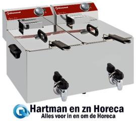 EF82-KN  - Elektrische friteuse tafelmodel 2x 8 liter + aftapkraan DIAMOND