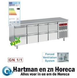 TG4N/H-R2+4XK1/2-H  - Geheel koelwerkbank met 8 lade's mm (BxDxH) : 2250x700xh880/900 DIAMOND