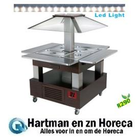CSB/4D-B1-R2 - Eiland Buffet - Salade bar, gekoeld, 4x GN 1/1-150 (Wengé hout) DIAMOND