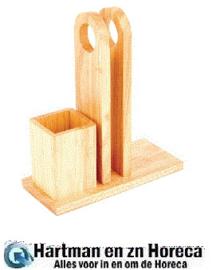 GH307 - Olympia houten menuhouder met bestekhouder 26,5(h)x 23(b)x 10(d)cm