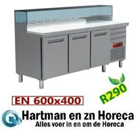 MR-MAXIPIZZA/R2 - Pizzeria koeltafel, 3 deuren EN 600x400, 3 neutrale laden EN 600x400, gekoelde structuur 8x GN ¼ mm (BxDxH) : 2110x700xh880/900-1200 DIAMOND
