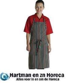 A971 Chef Works halterschort rood-grijs gestreept