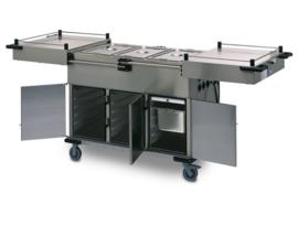 0162948 - Voedseltransportwagen SPTW-3/EBF voorzien van schuifdeksels, galerij en bakken met folie-verwarming kastruimte met 5 geleiders