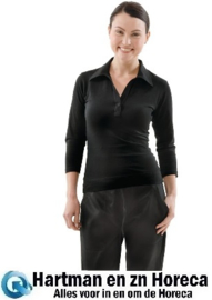 B038 - Uniform Works dames shirt met V-hals zwart