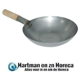 K296 - Vogue zacht stalen wok met platte bodem 33cm