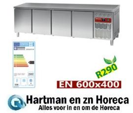 DP255/PC-R2 - Gekoelde werktafel, geventileerd, 4 deuren EN 600x400 (760 L) mm (BxDxH) : 2542x800xh880/900 DIAMOND