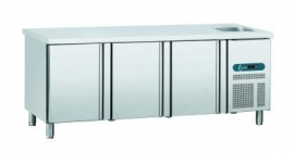 EURO LINE GNE/3 - EURO LINE 70 Geventileerde koelwerkbank 3 deuren en spoelbak Topcold