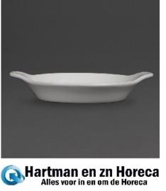 W439 -Olympia Whiteware ronde gratin ovenschaaltjes met handvatten