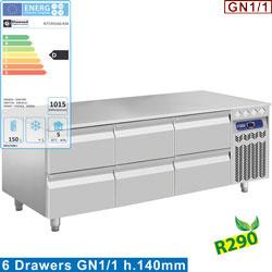 N77/R316G-R26 - Gekoeld onderstel, 6x1/2 laden GN1/1-h 100 mm - mm (BxDxH) : 1600x700xh630/650 DIAMOND