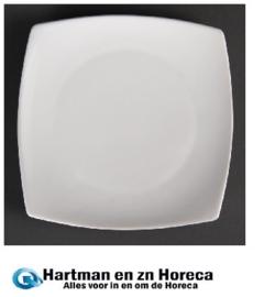 U170 - Olympia vierkant bord met afgeronde hoeken Wit 24cm. Prijs per 12 stuks.